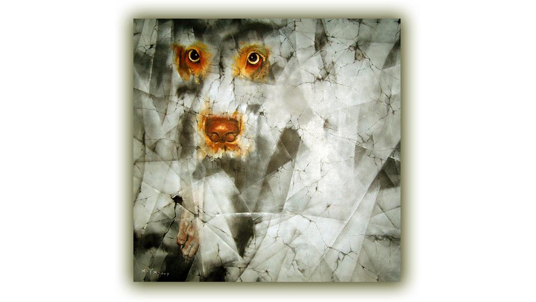 """徐也秀以自己丢失的那只耳朵失聪的狗做原型,画了很多拟人化的狗,很有趣,他给这些狗统统起名为""""隆梅尔""""(聋没耳)。 作者简介: 职业艺术家 创作油画、装置 、雕塑"""